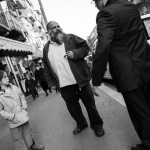Street conversation in Mea Shearim.