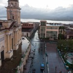 The main square, Parques Cespedes, was largely cleaned up by the evening after the hurricane.  All power was out for days and was not restored in parts of the city for weeks.