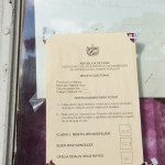 A ballot for the municipal election in Havana is displayed inside this window.  The 3 candidates are allowed to post a resume citing their qualifications and no advertising or campaign promises are allowed.