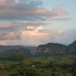Towering mogotes rise above the rich agricultural plains in the Vinyales Valley.