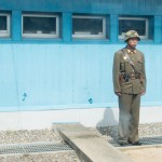 North Korean soldier taken from inside one of the conference rooms spanning the border.