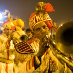 Marching band leads Akhara into the camp