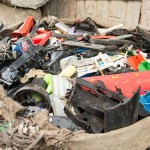 Plastic debris is gathered for recycling.