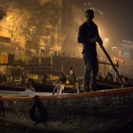 Boats in the Ganges River at cremation ceremony, Varanasi